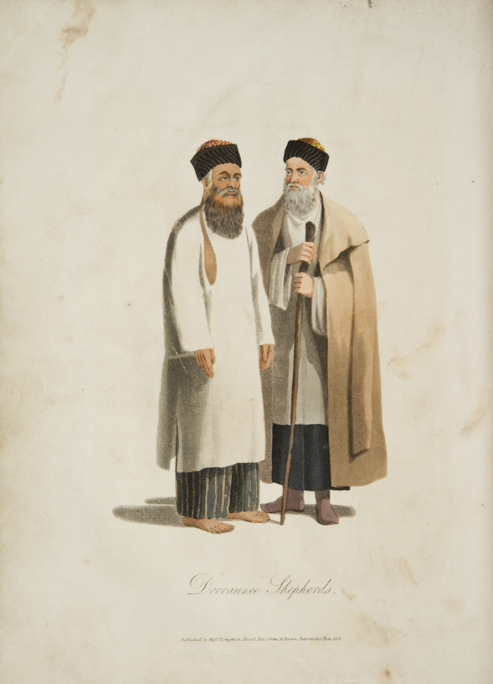 """Dooraunee Shepherds."" The man to the left is wearing a kosai. Aquatint, from Mountstuart Elphinstone 1815,  Plate II, opp. p. 239."