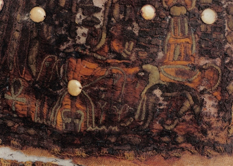 Detail of an appliqué textile from the tomb of Tutankhamun, 14th century BC. Photograph by Nino Monastra.
