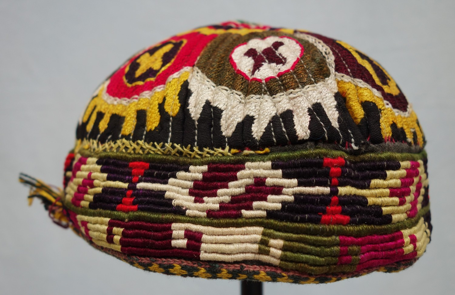 Uzbek cap from Afghanistan, late twentieth century (TRC 2016.1799). For more information, click on the illustration.
