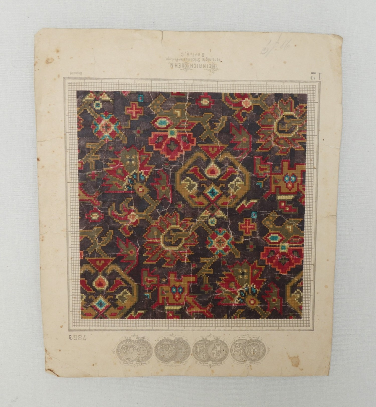 Berlin work chart with a design based on carpet motifs (Berlin, c. 1880; TRC 2018.1581).