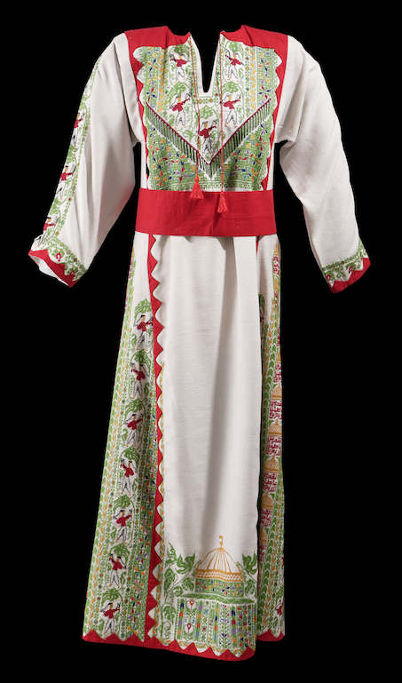 Palestinian flag dress, produced in Syria by ANAT.