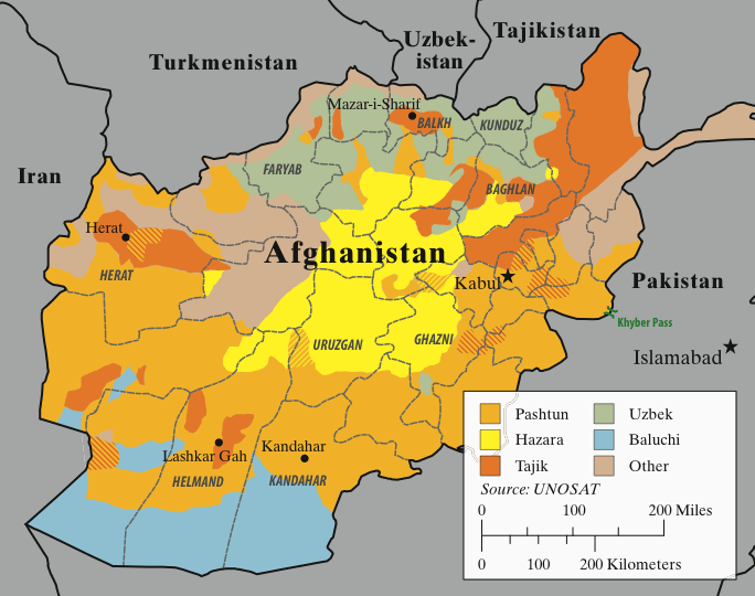 The main ethnic groups in Afghanistan.