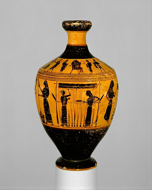 Oil flask with a depiction of two women working a warp-weighted loom. Greece, c. 550 BC. Courtesy Metropolitan Museum of Art, acc. no. 31.11.10.
