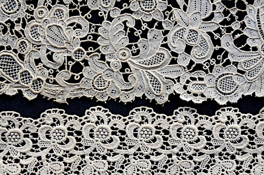 Two pieces of Venetian lace imitation. Top: TRC 2007.0559, bottom: TRC 2007.0595