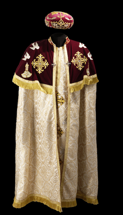 Liturgical dress of a Coptic bishop, worn at Christmas and Easter. (TRC 2013.0297). Click illustration for TRC catalogue entry.