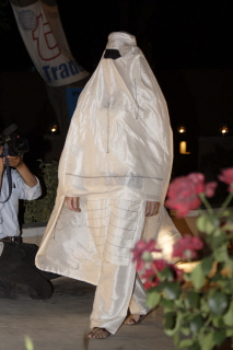 Afghan woman's chadari, worn at a fashion show in Kabul, 2006. The chadari now is housed in the TRC collection (TRC 2006.0261). For more information, click the illustration.