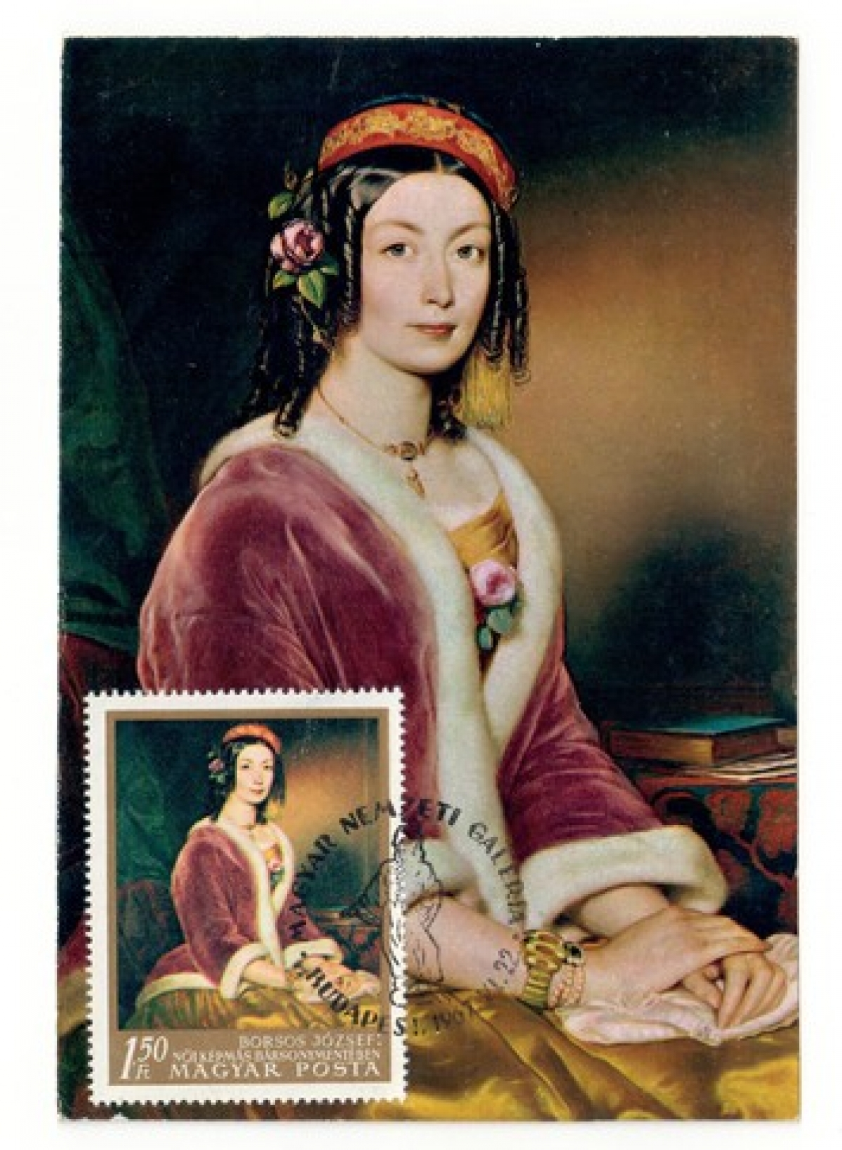 Postcard with a nineteenth century painting of a woman wearing a velvet jacket, with a stamp depicting the same painting.
