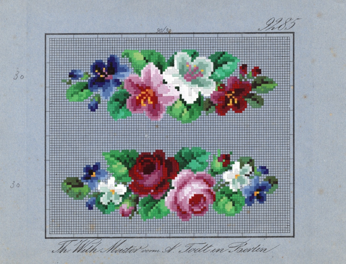 Berlin work chart with a set of floral motifs that include lilies, violets and roses (Germany, 1840s - 1850s).