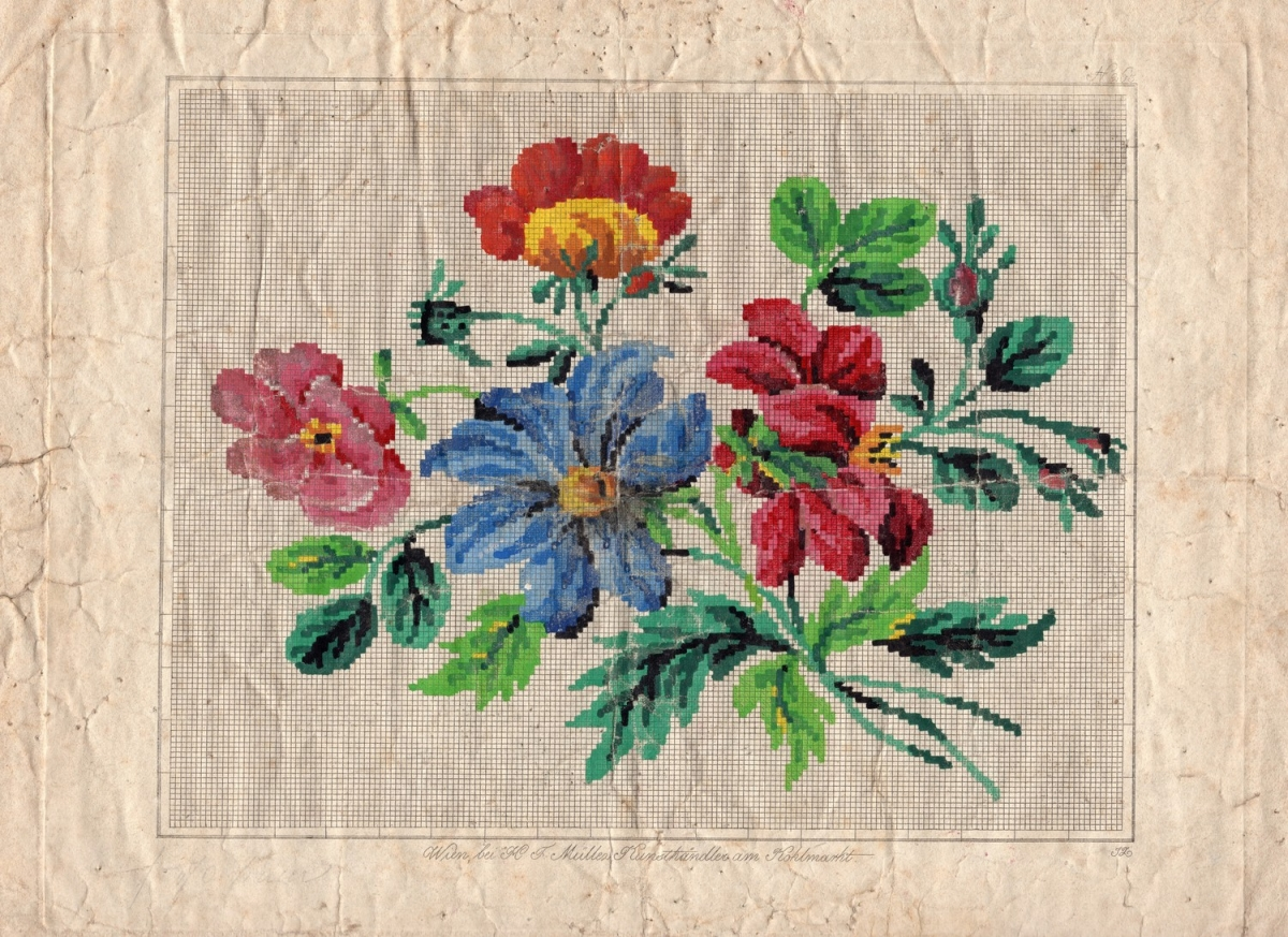 Berlin work chart, with a design of flowers, including rose buds and lilies, Germany 1840s - 1850s.
