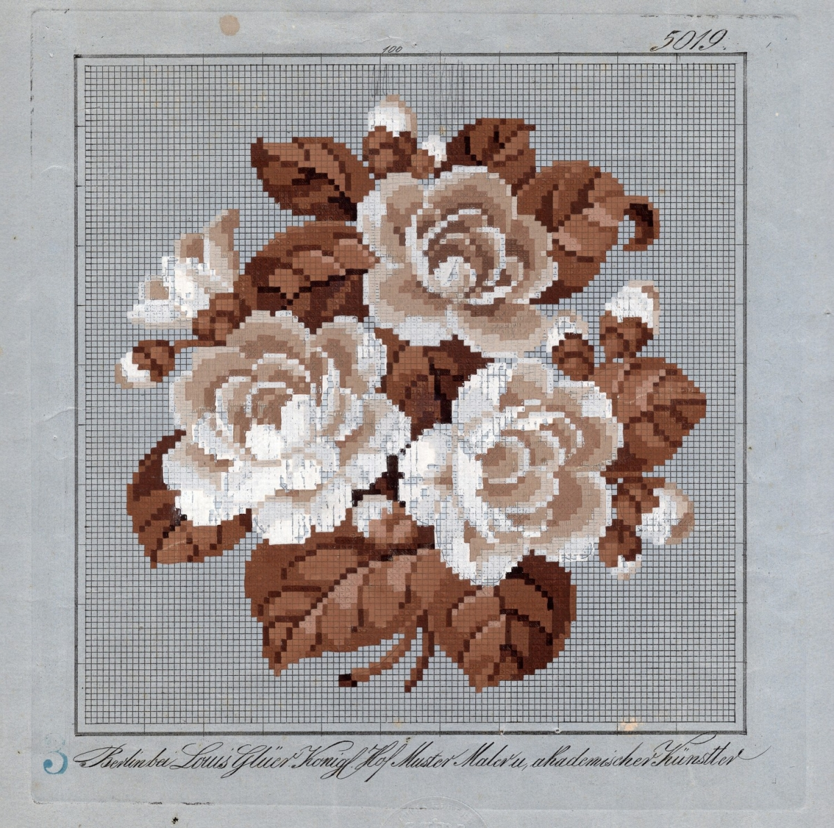Berlin work chart for an embroidered picture, including a bunch of flowers (probably roses) in cream and brown with brown leaves. Germany, 1840s - 1850s.