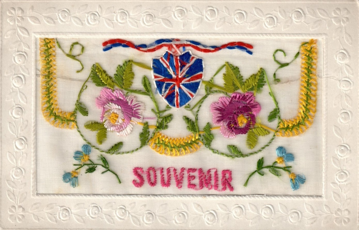 Embroidered postcard from the First World War, with the British flag.