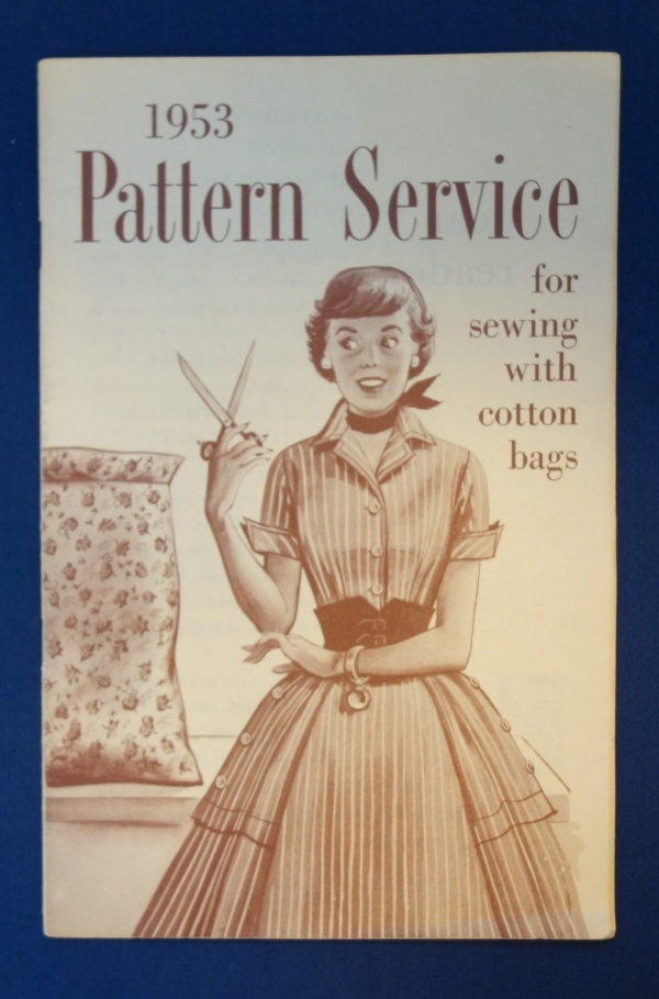 "Booklet entitled ""1953 Pattern Service for sewing with cotton bags"" produced by Simplicity Patterns (TRC 2017.4030)."