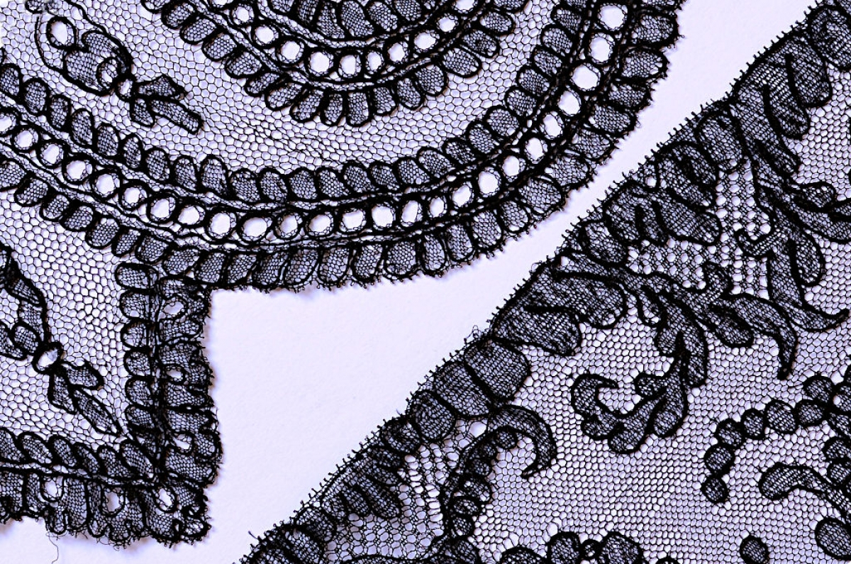 7. Two pieces of black Chantilly lace
