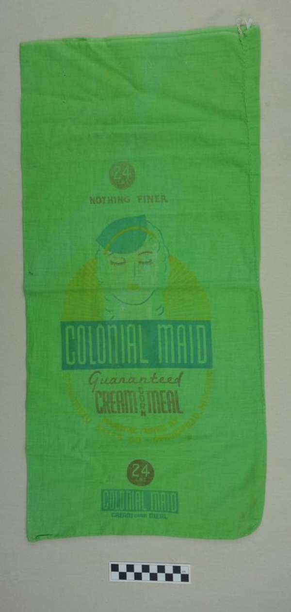 Dyed corn meal sack from the 1920's (TRC 2017.4249).