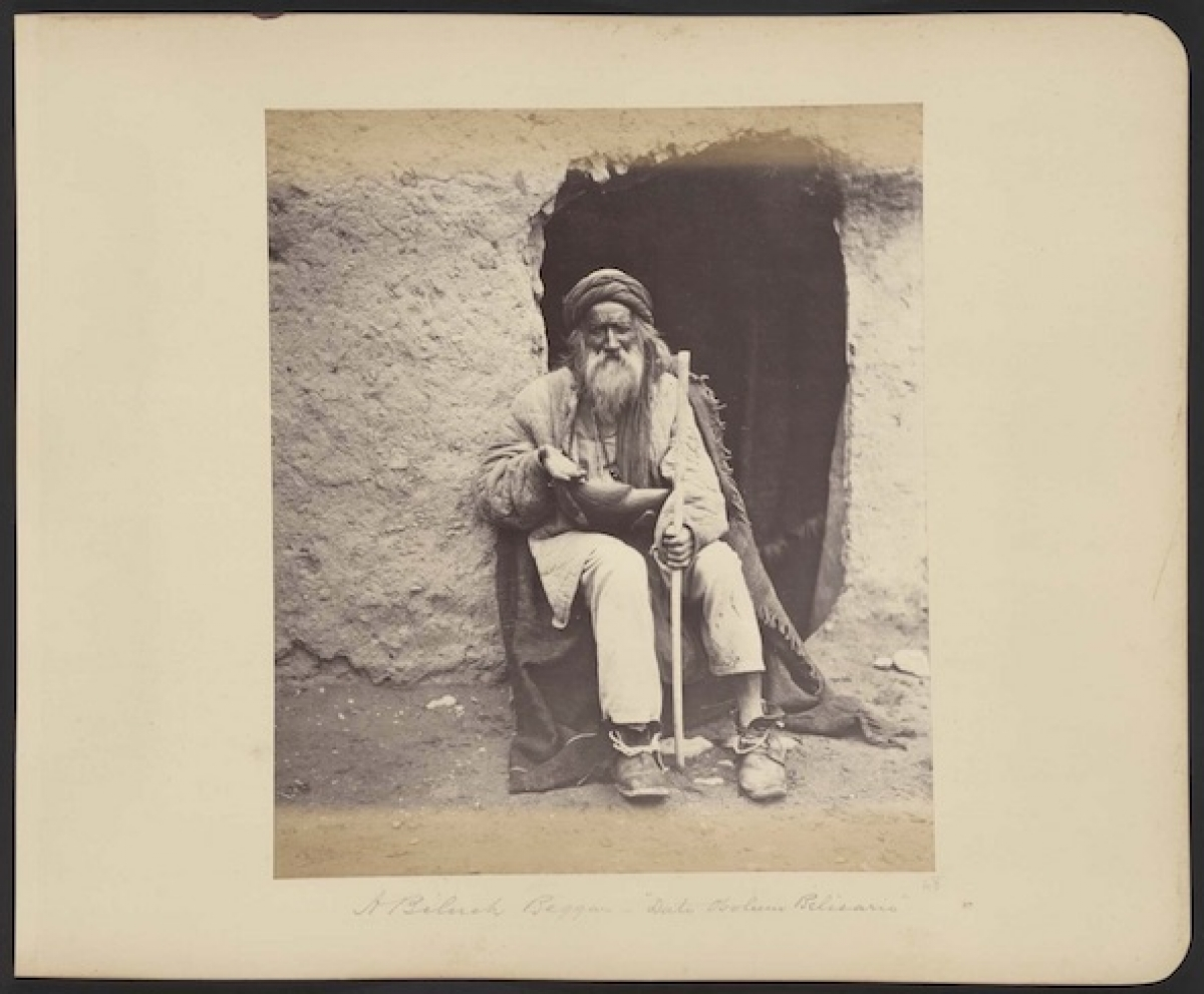 """A Baluch beggar – 'Dato obolum Belisario."" From the photograph album of Benjamin Simpson, 1879-1880."