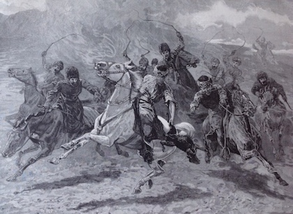 """Herati horsemen playing the 'Baz Gadeh Bazi' or goat-neck game. Scenery and life in Afghanistan,"" from sketches by Sir Edward Durand.  The Graphic, 23 September 1893, p. 377."