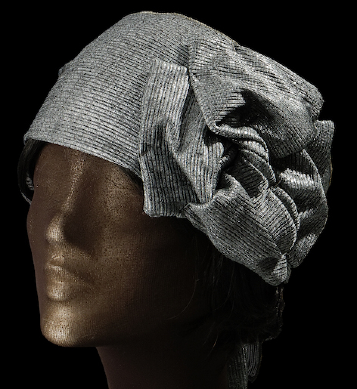 Fashionable headband for an orthodox Jewish woman.