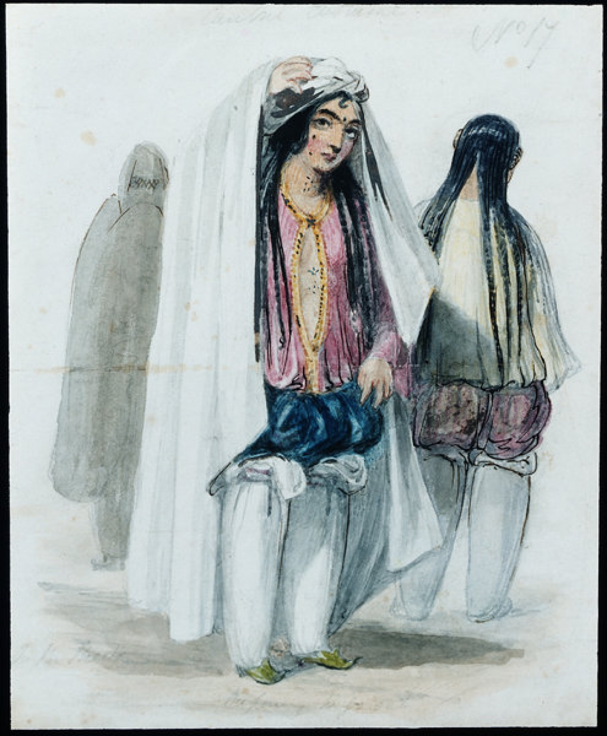 """Cabul Costume. In the Street. Preparing to go out."" Water colour by James Atkinson, c. 1840, showing a lady in Kabul with her chadari and under garments."