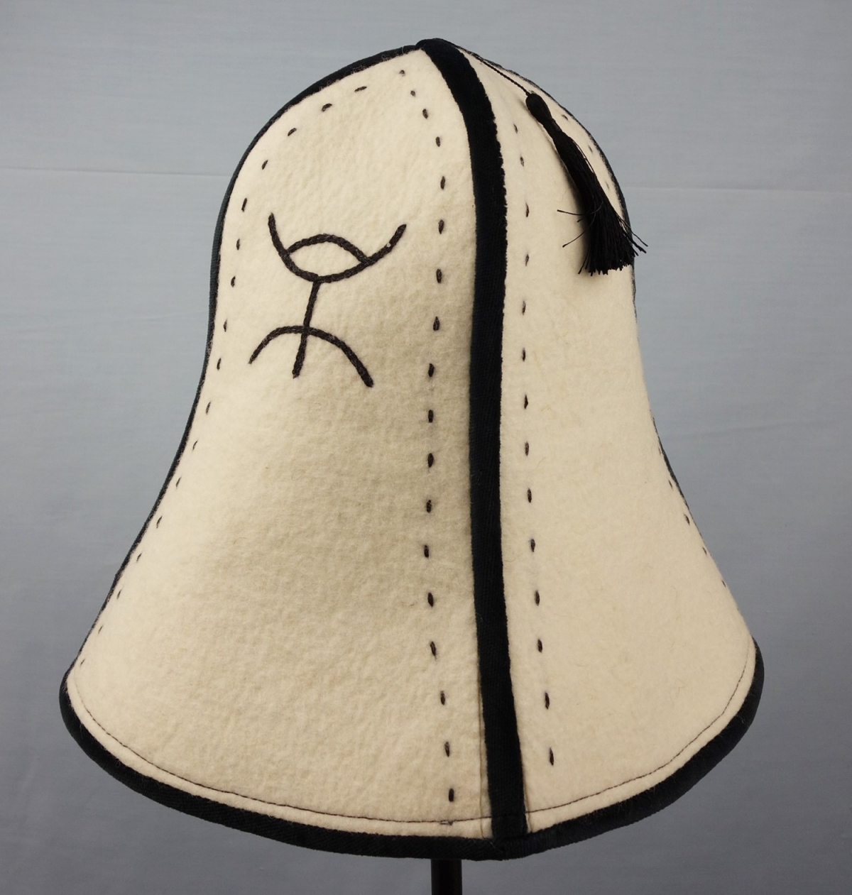 Felt cap from the Kirghiz, called an Ak Kalpak ('white kalpak'), early 21st century.