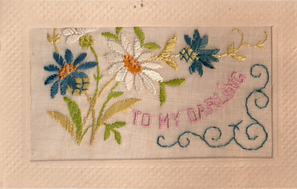 Early 20th century silk embroidered postcard.
