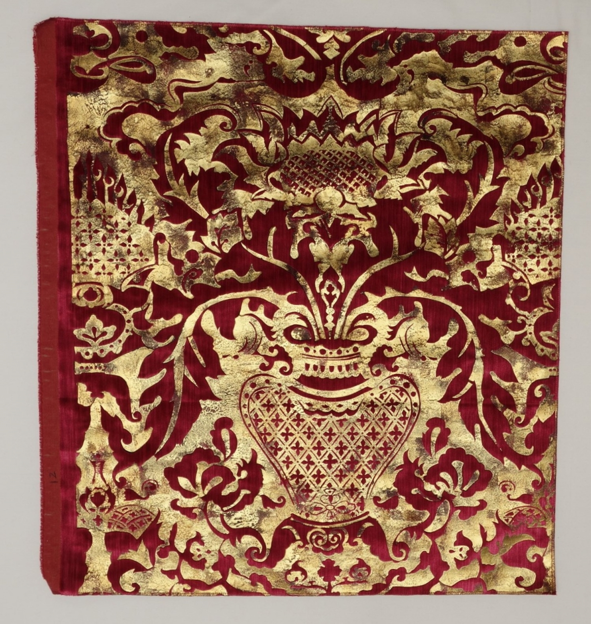 Red silk velvet with a screen printed design based upon Renaissance motifs (France, 2018).