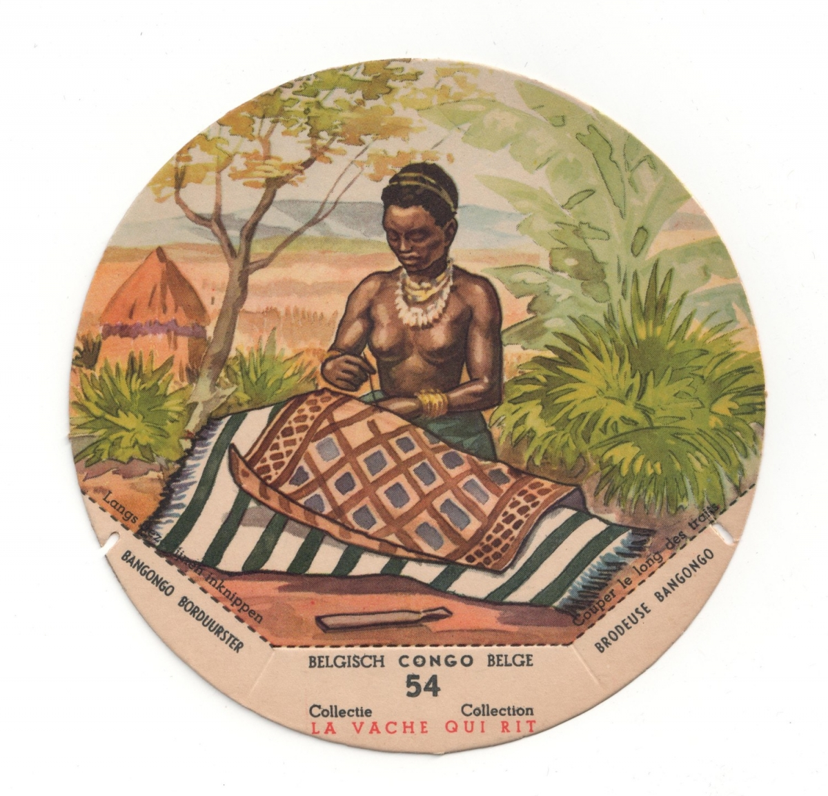 Roundel depicting a woman embroiderig a piece of Kuba cloth (1955, France).