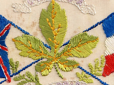 Silk embroidered postcards from the First World War