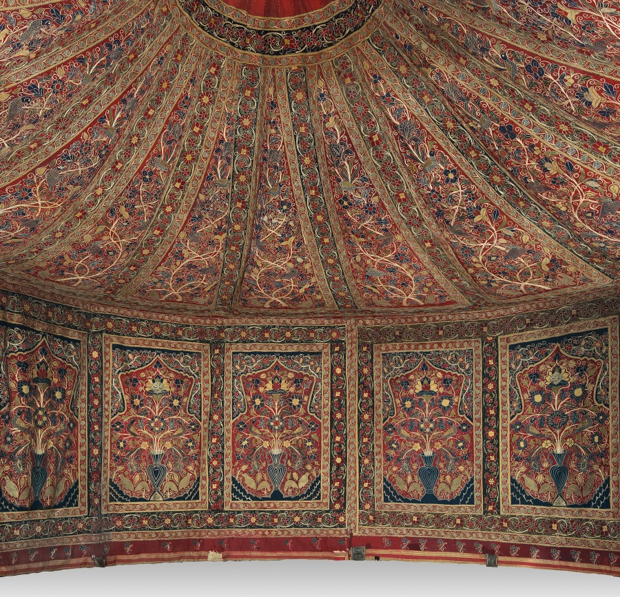 Interior of the Qajar-era royal tent now in the Cleveland Museum of Art, acc. no. 2014.388.