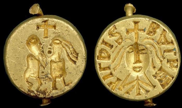A golden seal matrix with the name of Baldahildis, found near Norwich, England, in 1999.