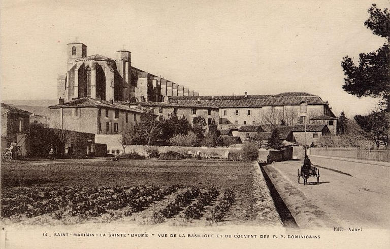 Early 20th century photograph of the Basilica of Saint Marie Magdalena in the town of Saint-Maximin-la-Sainte-Baume, southern France.