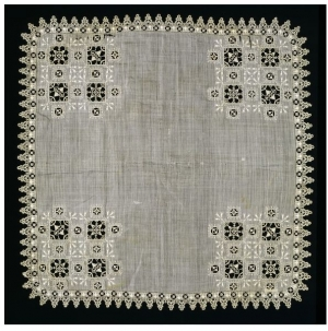 Linen hardkerchief, with cutwork, needle lace and embroidery. c. 1600, Italy