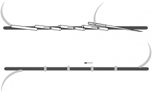 Schematic drawing of underside couching.