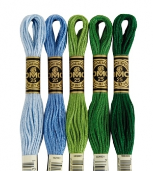 Five skeins of DMC stranded embroidery floss.
