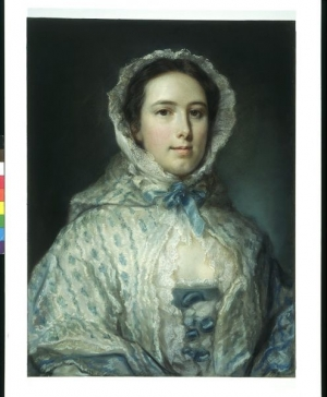Pastel of a young woman wearing a shawl decorated with blue ribbon work (18th century, Britain).