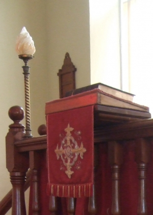 Modern pulpit fall, gift by the people,from Folkstone for welcoming war evacuees, baptist chapel of  Llanddewi Rhydderch.