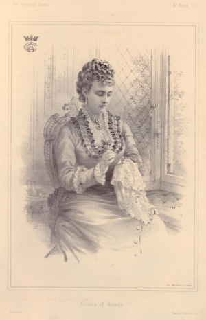 Print showing Clementine, Marchioness Camden, at her needlework, 1877.