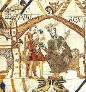 King Edward depicted in the Bayeux tapestry.
