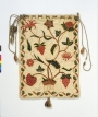 Embroidered workbag, crewel wool on linen and cotton ground, English, 1702.