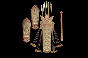 Quiver, armguards and belt from the armoury of Tipu Sultan, taken from Seringapatnam in AD 1799.