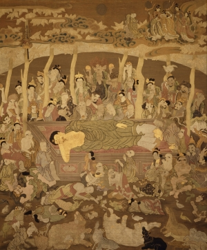 Wall hanging from Japan showing the death of the Buddha, c. 1795.