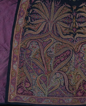 Detail of an embroidered Kashmir cloak, mid-19th century.