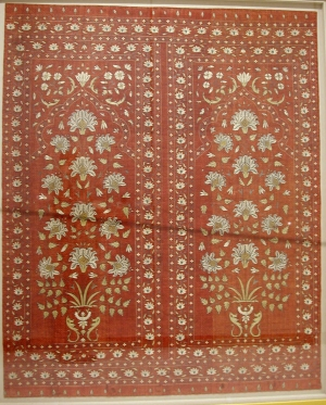 Embroidered tent lining from India, Mughal-style, 18th century.
