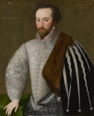 Sir Walter Ralegh (c. 1554-1618), wearing garments densely decorated with pearls.