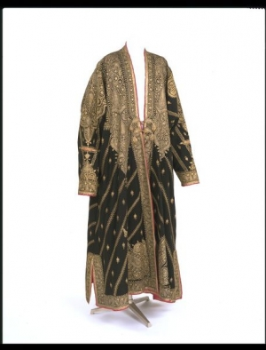 Kashmir coat with gold thread embroidery. 19th century.