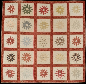 Cotton patchwork with its blocks, USA, mid-19th century.
