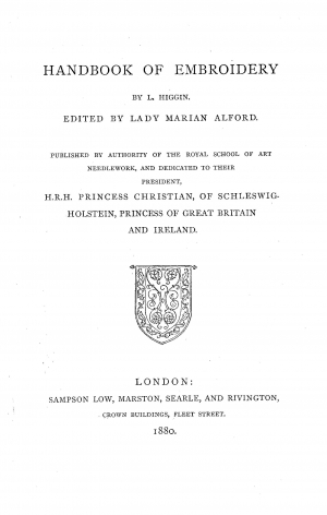 Title page of Miss Letitia Higgin's Handbook of Embroidery, 1880.