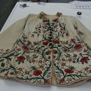 Embroidered waistcoat made in India, probably for the European market, mid-18th century.