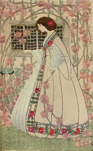 Embroidery by Helen Lamb in the Glascow School of Art style of embroidery, 1909.