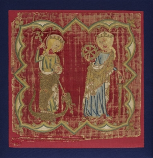 Embroidered panel of a burse, mid-14th century, England.