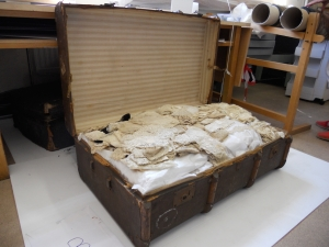 One of the trunks in which the Blackborne collection of lace was transported to the Bowes Museum.